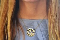 Monogram Style Necklace Script Letter Initial Pendant Boho Gold and Silver