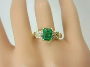 14k Yellow Gold 0.90 carat Emerald and Diamond Ring 1.18 ct TW