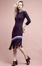 Anthropologie Sweater Dress black Ribbed Fringed Asymertrical  M NWT