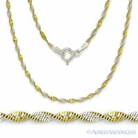 .925 Sterling Silver 14k Gold GP 1.7mm Twist-Rope Magic-Flex Link Chain Necklace