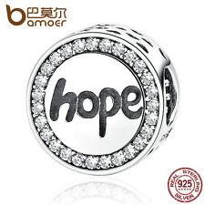 "Bamoer European S925 Sterling Silver ""Hope"" Charm With cz Pendant Fit Bracelets"