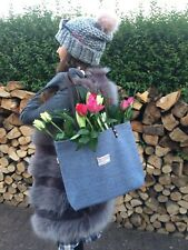 Blue White Harris Tweed Shoulder Bag Tote Girlfriend Wife Scottish Gift for Her