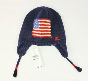 Ralph Lauren Baby Knit Cap, Flag, Navy, One Size 9-24 Months