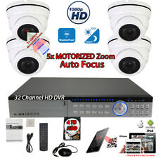 32 Ch Dvr 4x 1080P Motorized Hd Night Vision Home Cctv Security Camera Set w/4Tb