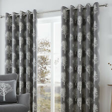 - Fusion Charcoal Woodland Trees Ready Made Lined Eyelet Curtains 66x54
