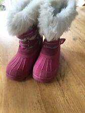 Trespass Girls Snow Boots Faux Fur Trim Size 1