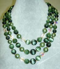 Vintage LISNER Green Moonglow Lucite AB Faceted Crystal Beads 3 Strands Necklace