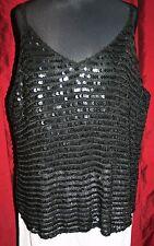 "Sequin Black Strap Top 26/28 PLUS SIZE 62"" Bust Open Weave Stretch Lagenlook"