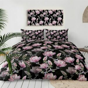 Flower Floral Pink Black Girly Double Single Quilt Duvet Pillow Cover Bed Set