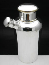 More details for art deco 1 pint cocktail shaker with strainer & pouring spout - silver plated