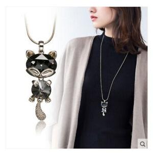 Damen Katze Motiv Halskette Mode Schmuck Collier mit Anhänger Gold lange Kette
