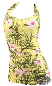 Vintage Damen geraffter Badeanzug Hibiskus Blüte retro Hawaii Flower tropical