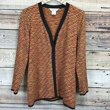 Exclusively Misook Small Cardigan Multicolor Striped Long Sleeve 0821