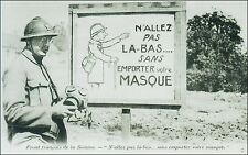 World War 1, French Military:Gas Mask Sign, Soldier, Somme Front. Pre-1915 B&W.