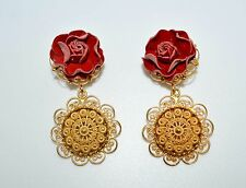 DOLCE & GABBANA JEWELLERY BRASS FLORAL RED ROSES SICILY GOLD EARRINGS ITALY GIFT