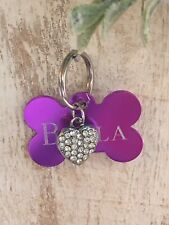 Personalized PET ID TAGS  ENGRAVED DOG CAT NAME TAG Purple Bone W/ Bling Heart