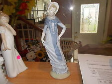 "LLadro NAO 12"" Figurine-Lady Wearing Long Blue Dress & Bonnet w/Shawl"