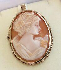 Beautiful Ladies Hallmarked Vintage 9Ct Gold Cameo Pendant & Brooch