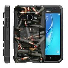 For Samsung Galaxy J Series Phone Case Hybrid Holster Clip Armor Black Bullets