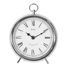 Hometime Small Round Silver Metal Mantel Clock