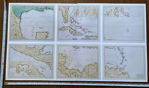 """6 Old Antique detailed maps of the West Indies 1740 1700's 8.5 x 6.5"""" Reprint"""