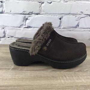 Crocs Suede Cobbler Brown Faux Fur Lined Comfort Clogs - Women's Size 8