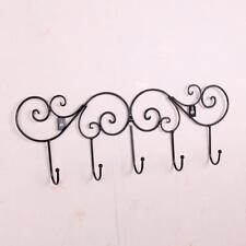 Crochet Mural à 5 Croc Porte-manteau Porte-serviette pour Porte Mur Noir