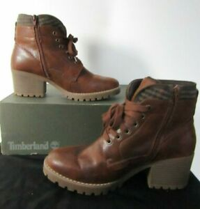 TU Sole Comfort Brown Fleece Lined Low Block Heel Lace Up Ankle Boots Size 8 42