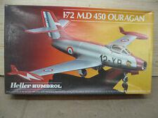 Vintage M.D. 450 Ouragan Heller Humbrol 1/72md Scale Model Kit