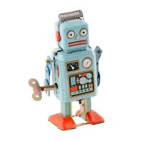 Vintage Retro Mechanical Clockwork Wind Up Robot With Key Children Kids Tin Toys