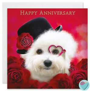 Anniversary Card HAPPY ANNIVERSARY for him or her to from Bichon Frise Dog Lover