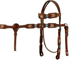 Showman MEDIUM OIL headstall and breast collar set with turquoise cross stones!