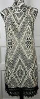 Maurices Womens Sleeveless Black Ivory Crochet Hem Shift Dress Size Medium
