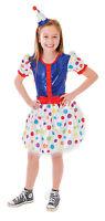 GIRLS CLOWN SPOTTY DRESS FANCY DRESS COSTUME