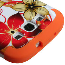 Samsung Galaxy S III 3 Rubber IMPACT TUFF HYBRID Case Cover Red Flowers Orange