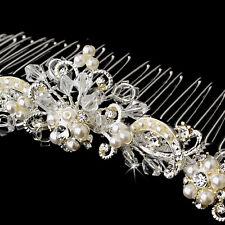 Ivory / White Silver Swarovski Crystal Pearl Bridal Comb Wedding Tiara Hairpiece