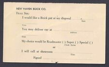 Ca 1952 NEW HAVEN CT BUICK CO ORDER FORM FOR SUPER, ROADMASTER& SPECIAL UNPOSTED
