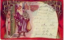 PURPLE ROBE SANTA 1906 with sack of toys and tree