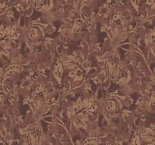 Wallpaper Designer Metallic Gold Jacobean Fruit Leaf Vine on Copper Rust Faux