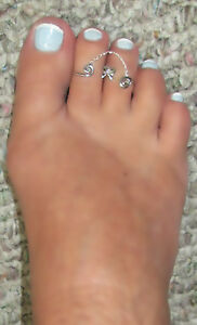 Double Fetish Connected  STERLING SILVER  toe rings hand designed Effect SPECIAL