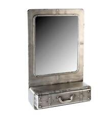 74754 Wandspiegel Factory Metall anthrazit silber mit Schublade Höhe 85 cm