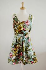 VINTAGE 1950's 60's style PAINTERLY ABSTRACT PRINT FLORAL DRESS wedding 10