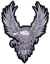 Большой живой бесплатный проезд Жесткий серебряный американский белоголовый орлан вышитый байкерская нашивка