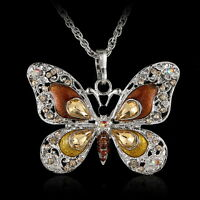 Elegant Crystal Silver Butterfly Pendant Sweater Long Chain Necklace Jewellery