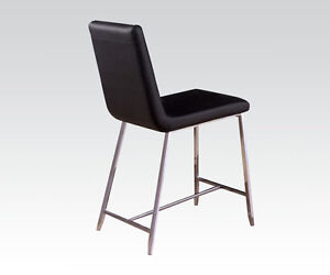 Lenia Modern Dining Chairs Cushioned Black PU Set Of 4 Counter Height Chair