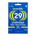 LYCAMOBILE Preloaded Sim Card Prepaid $23/$29/$35/$39 1/2/3 Months TextTalk Data