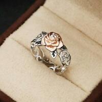 Exquisite Zwei Ton Silber Blumenring 14K Rose Gold Blumen Hochzeit Schmuck I4D6
