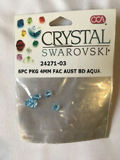 Crystal SWAROVSKI beads. Aqua, Faceted. 6 pieces 4mm. unopened.