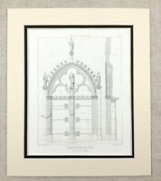 1874 Notre Dame Cathedral Rouen France Gothic Architectural Antique Print