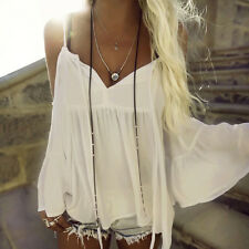 Women Chiffon Top Flare Sleeve Casual Strapless Beach V Neck T-Shirt Blouse L
